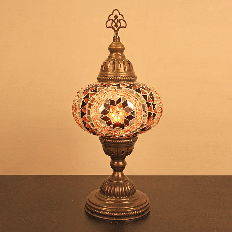 "Woodymood Mosaic Table Lamp 6.5"" 1 Ball-Flower Amber"