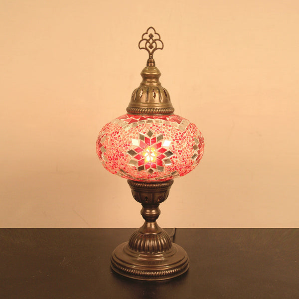 "Woodymood Mosaic Table Lamp 6.5"" 1 Ball-Star Red"