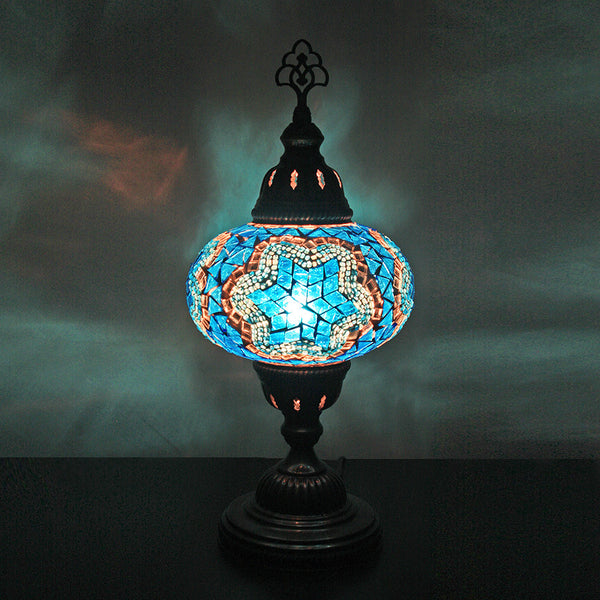 "Woodymood Mosaic Table Lamp 6.5"" 1 Ball-Star Turquoise"