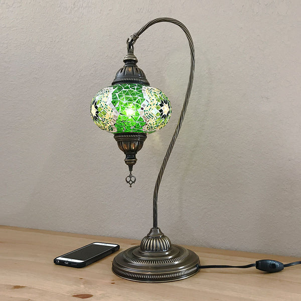 Woodymood Mosaic Swan Neck Table Lamp 7'' 1 Ball-Green