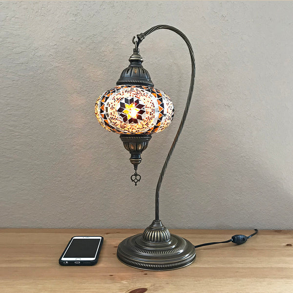 Woodymood Mosaic Swan Neck Table Lamp 7'' 1 Ball-Flower Amber