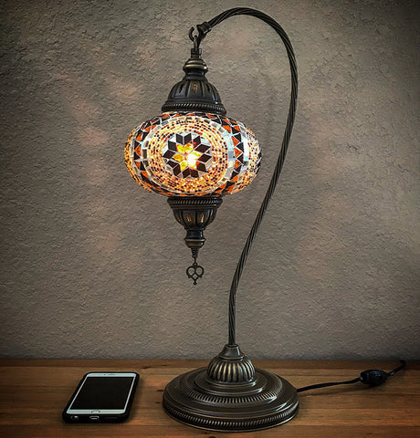 Woodymood Mosaic Swan Neck Table Lamp 7u0027u0027 1 Ball Flower Amber