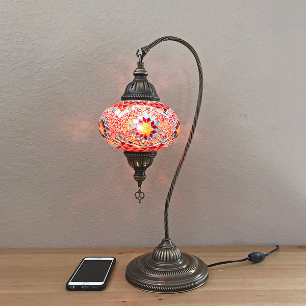 Woodymood Mosaic Swan Neck Table Lamp 7'' 1 Ball-Star Red