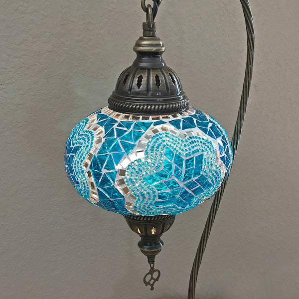 Woodymood Mosaic Swan Neck Table Lamp 7'' 1 Ball-Star Turquoise
