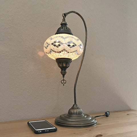 Woodymood Mosaic Swan Neck Table Lamp 7'' 1 Ball-White