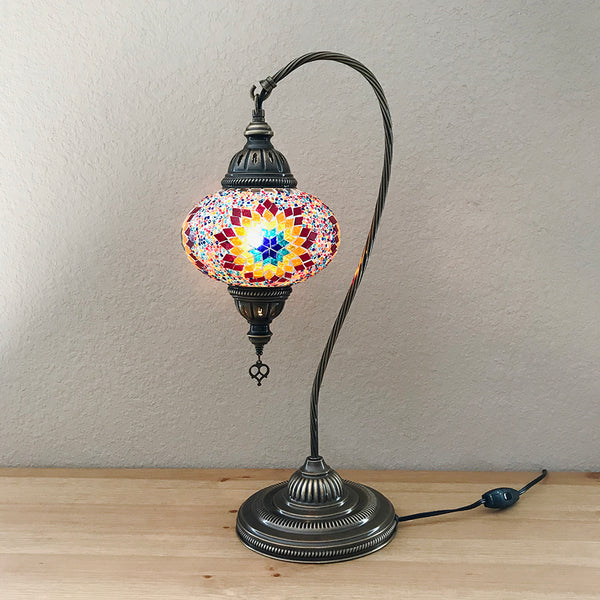 Woodymood Mosaic Swan Neck Table Lamp 7'' 1 Ball-Flame