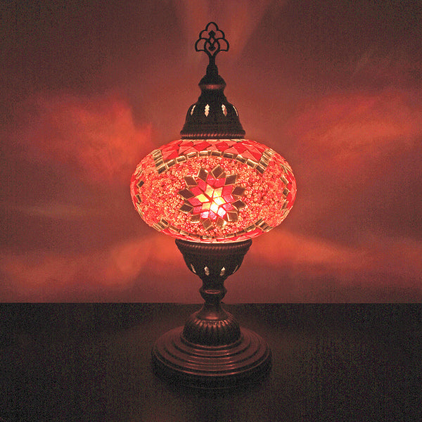 "Woodymood Mosaic Table Lamp 7"" 1 Ball-Star Red"