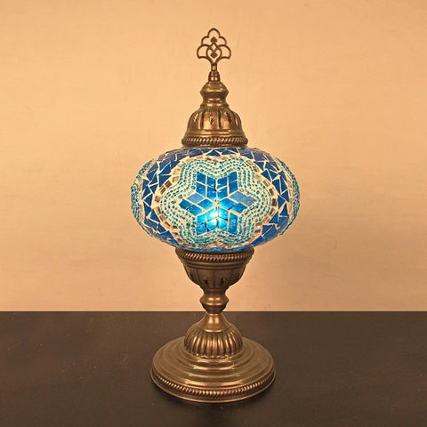"Woodymood Mosaic Table Lamp 7"" 1 Ball-Star Turquoise"