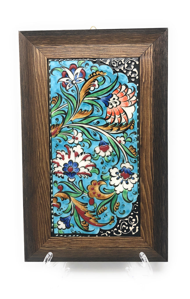 Handmade Handpainted Turkish Ottoman Design Wall Art Ceramic Tile With Woodymood Llc