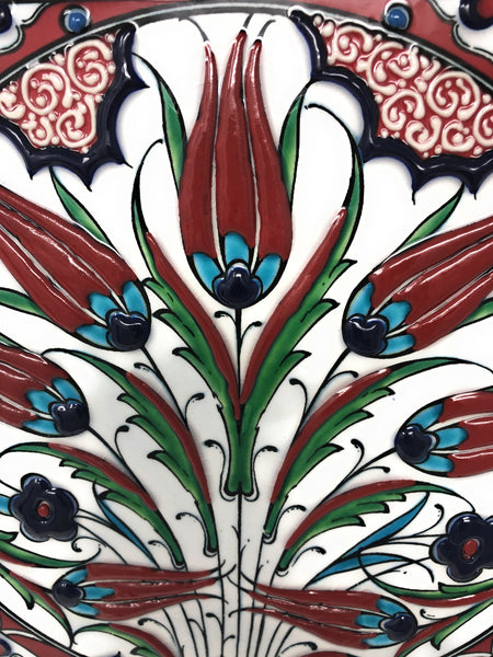 Handmade Handpainted Turkish Ottoman Design Wall Art Ceramic Tile With Natural Wood Frame