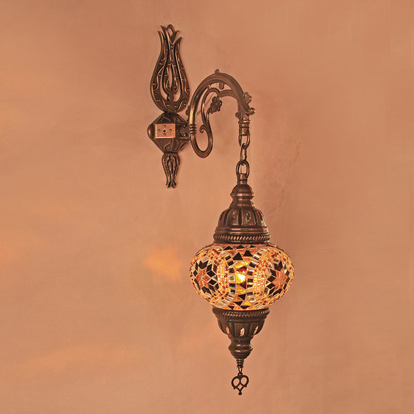 Woodymood Sconce Mosaic Lamps 5'' 1 Ball - Flower Amber
