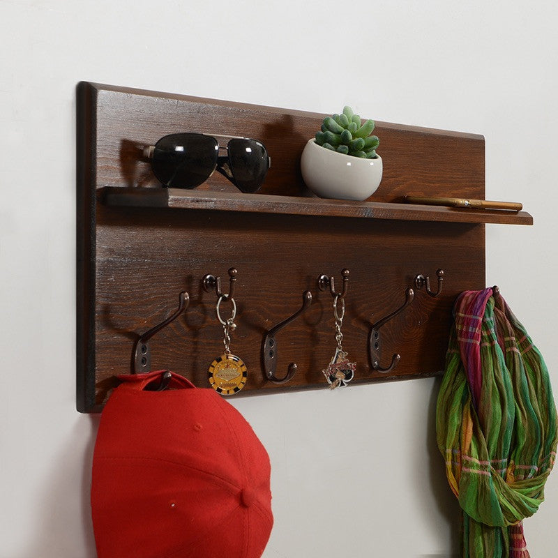 Woodymood Antique Wall Organizer Shelf-Dark Hazelnut