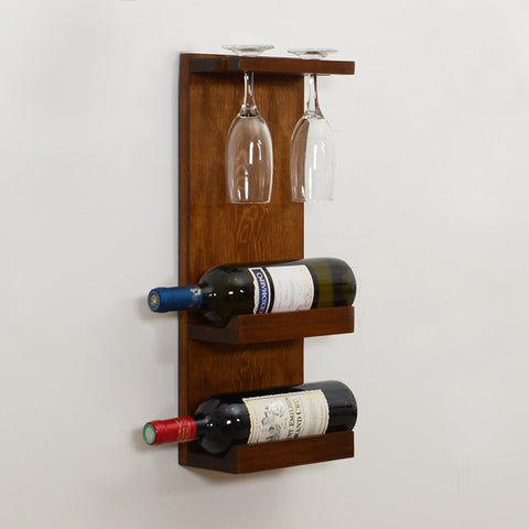 Woodymood Decorative Wine Rack Glass Holder-Dark Hazelnut