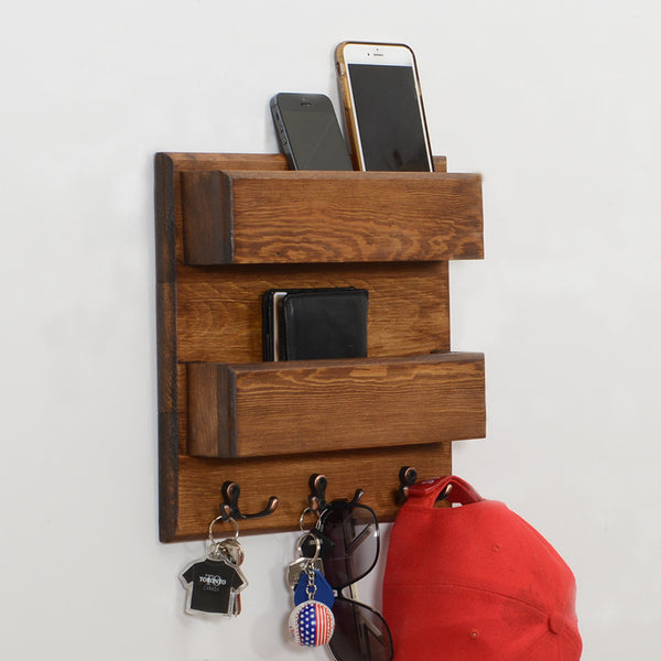 Woodymood Double Side Wall Organizer Shelf-Dark Hazelnut