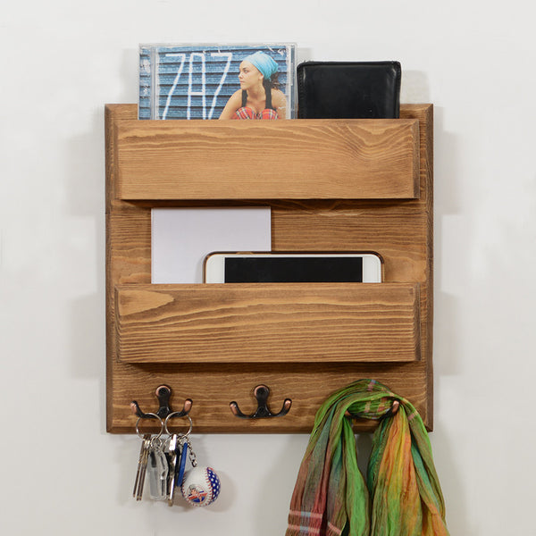 Woodymood Double Side Wall Organizer Shelf-Natural