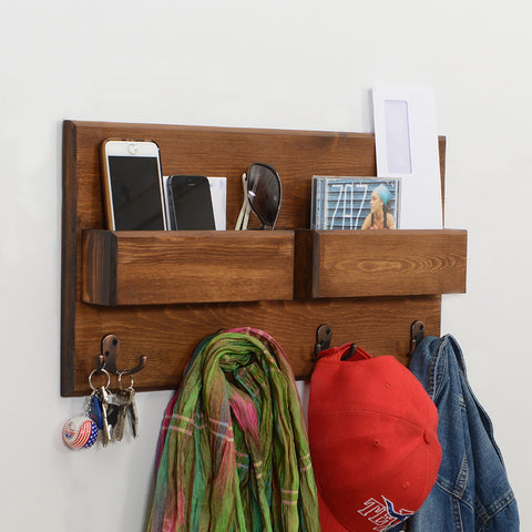 Woodymood Fantastic Wall Organizer Shelf-Dark Hazelnut