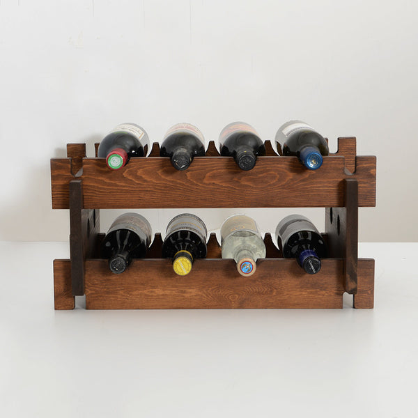 Woodymood French Style Wine Rack-Dark Hazelnut