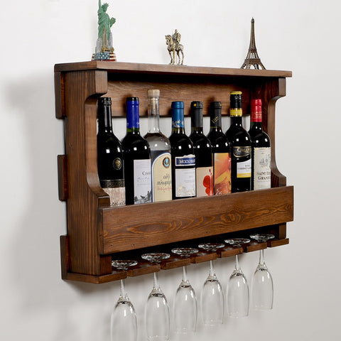 Woodymood Hangover Wine Rack Glass Holder-Dark Hazelnut