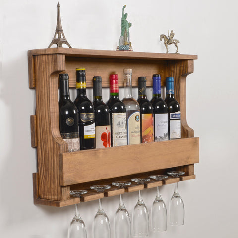 Woodymood Hangover Wine Rack Glass Holder-Natural