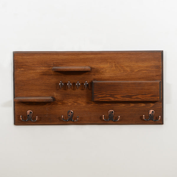 Woodymood Happy Wall Organizer Shelf-Dark Hazelnut