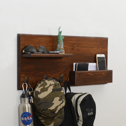 Woodymood Lucky Wall Organizer Shelf-Dark Hazelnut