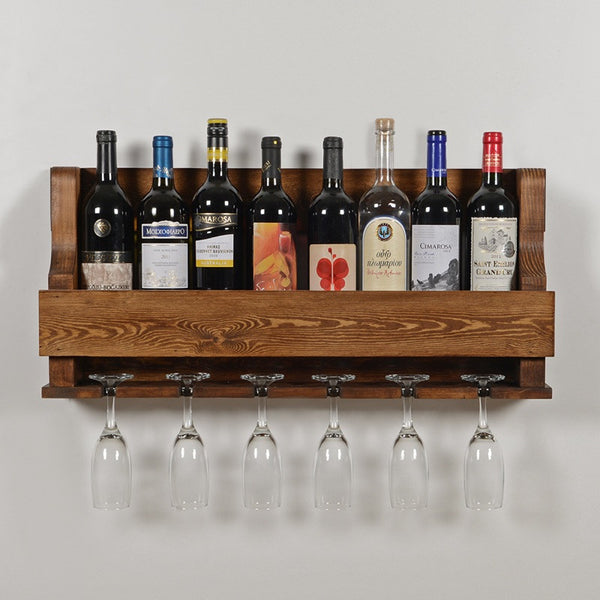 Woodymood Natural Wine Rack Gloss Holder-Dark Hazelnut