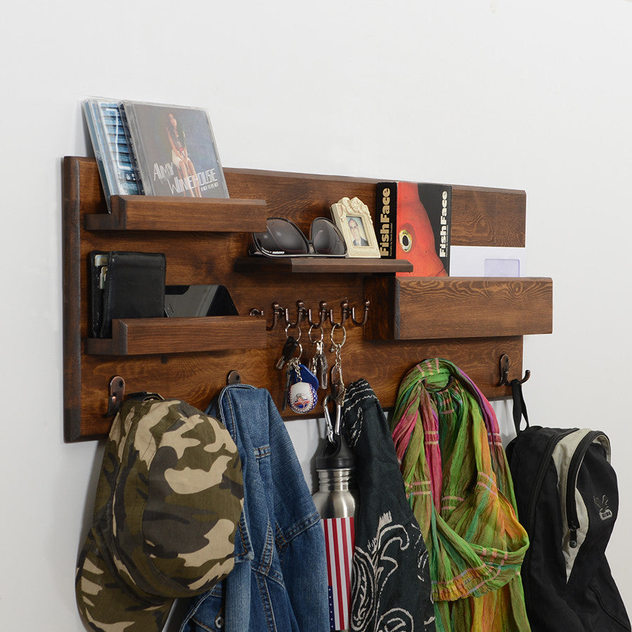Woodymood Professional Wall Organizer Shelf-Dark Hazelnut