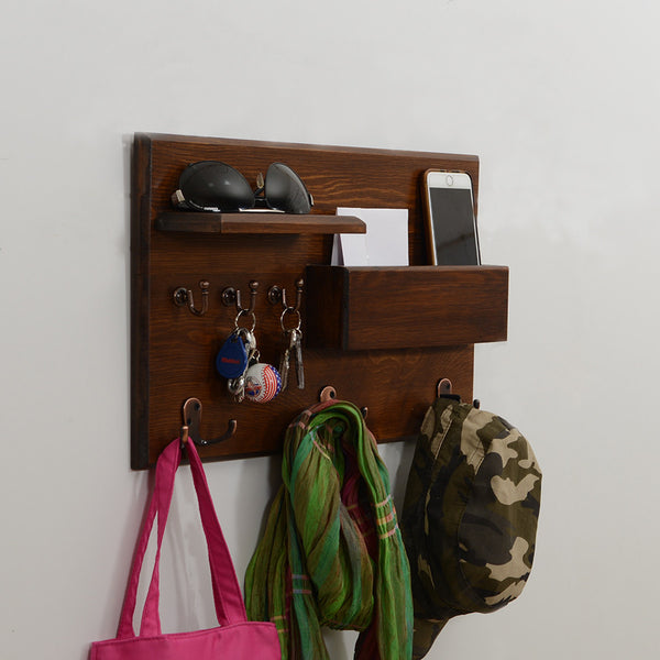 Woodymood Rustic Wall Organizer Shelf-Dark Hazelnut