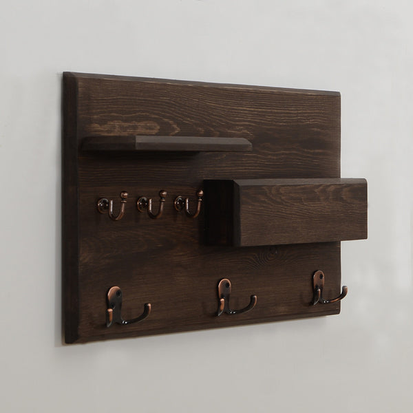 Woodymood Rustic Wall Organizer Shelf-Wenge