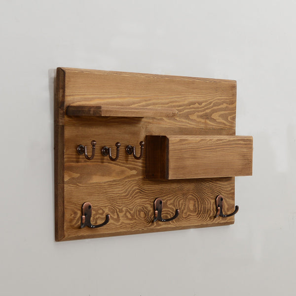 Woodymood Rustic Wall Organizer Shelf-Natural