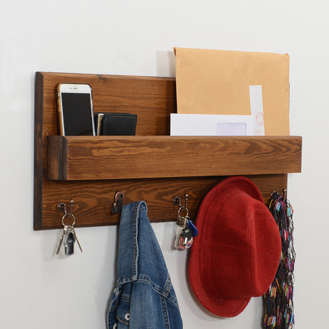 Woodymood Spring Wall Organizer Shelf-Dark Hazelnut