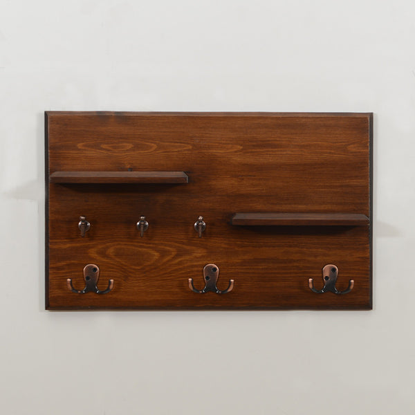 Woodymood Vintage Wall Organizer Shelf-Dark Hazelnut