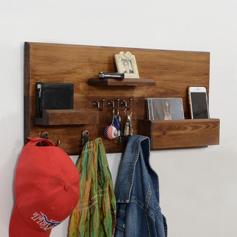 Woodymood Welcome Wall Organizer Shelf-Dark Hazelnut