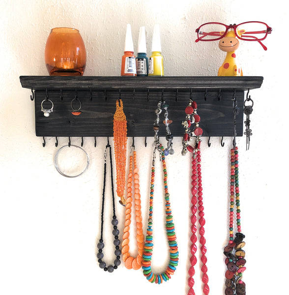 Jewelry Organizer Wall Hanging 32 Hook, Necklace Earring Organizer, Necklace Hanger, Jewelry Storage, Bracelet Holder-Ebony
