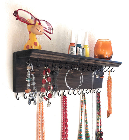 Jewelry Organizer Wall Hanging 32 Hook, Necklace Earring Organizer, Necklace Hanger, Jewelry Storage, Bracelet Holder-Brown