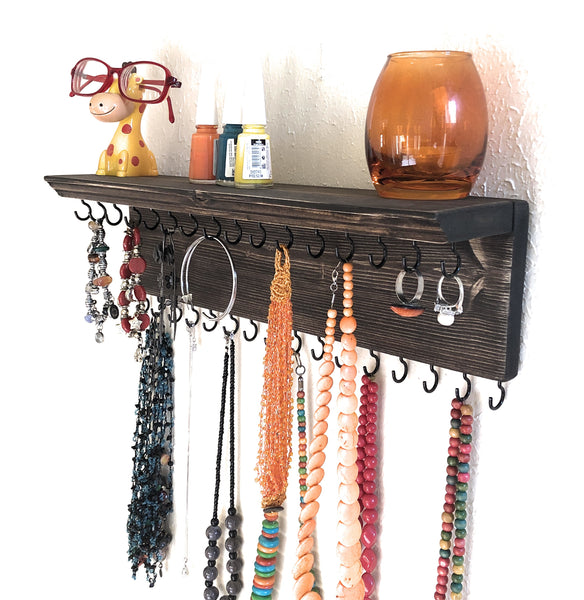 Jewelry Organizer Wall Hanging 32 Hook, Necklace Earring Organizer, Necklace Hanger, Jewelry Storage, Bracelet Holder-Aging Brown