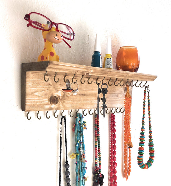 Jewelry Organizer Wall Hanging 32 Hook, Necklace Earring Organizer, Necklace Hanger, Jewelry Storage, Bracelet Holder-Natural