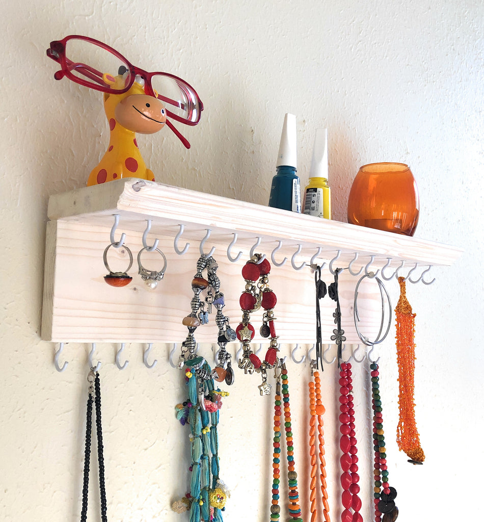 Jewelry Organizer Wall Hanging 32 Hook, Necklace Earring Organizer, Necklace Hanger, Jewelry Storage, Bracelet Holder-White