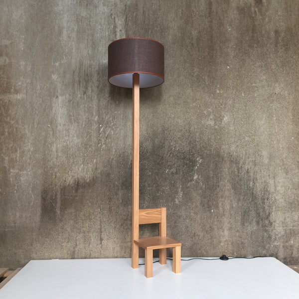 Woodymood Chair Floor Lamp-Brown