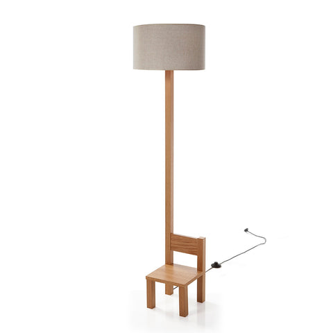 Woodymood Chair Floor Lamp-Light Brown