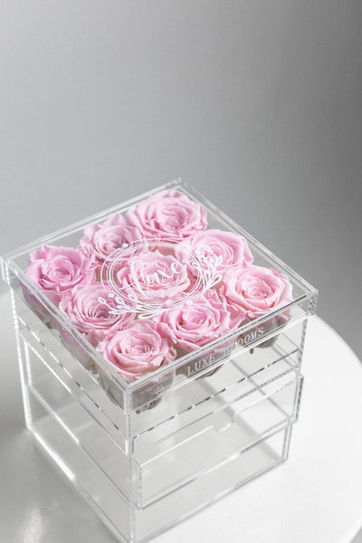 9 ROSE ACRYLIC BOX WITH 2 STORAGE DRAWERS