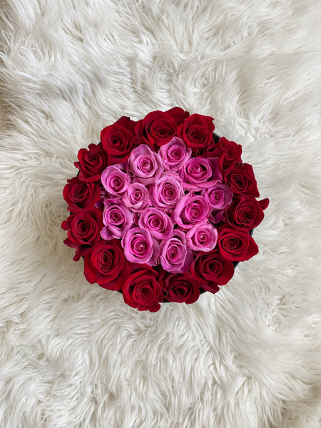 Pink & Red Round Bloom Box | Luxe Blooms