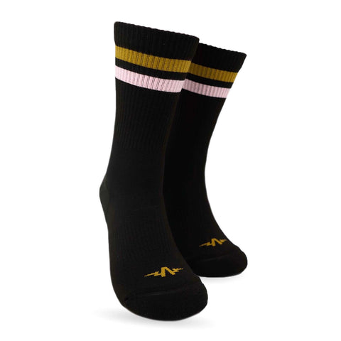 Triple Double Sock Black - Tan & Pink