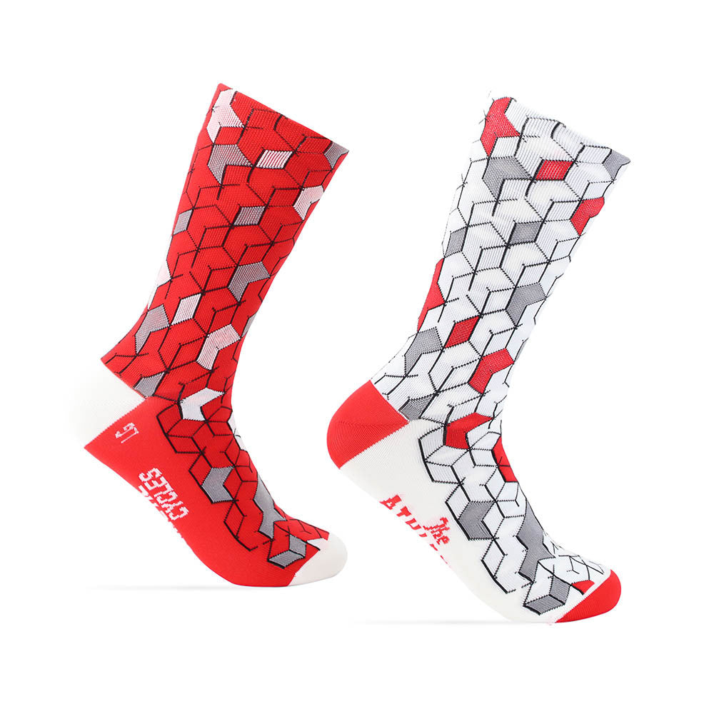 La Cubiste Sock - Kinetic Cycles Red