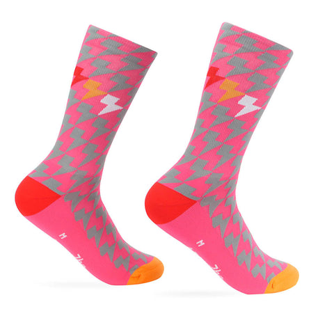 Lightning Bolt Gradient Pink Sock