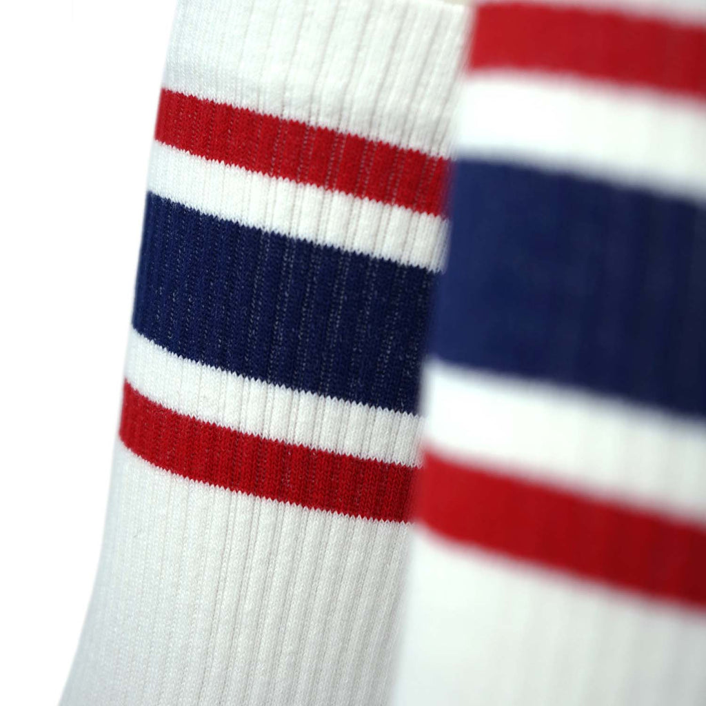 Triple Double Sock White - Red & Blue Classic