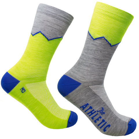 Elevation Thin Wool Socks - Golden Kiwi & Grey