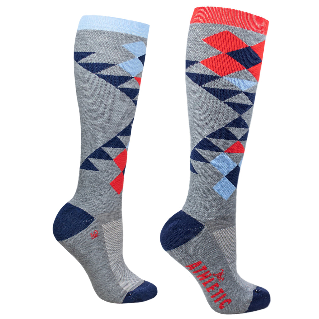 Quilt Tall Wool Socks - Grey