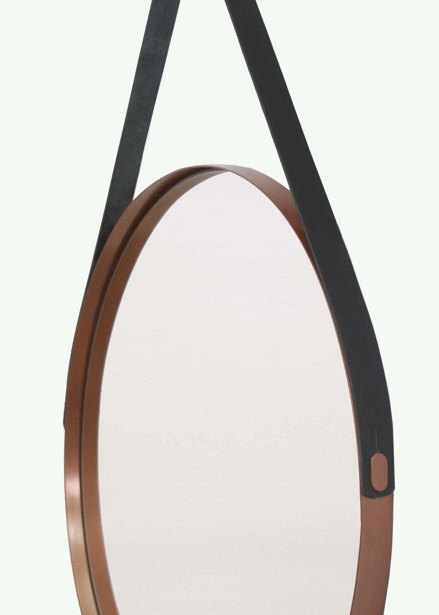 Leather Strap Deep Frame Circular Mirror