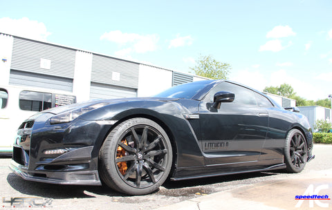Nissan GT R35 full carbon fibre side skirts add on extension